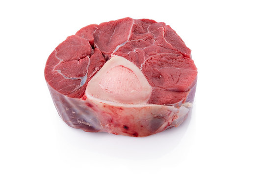 Sliced beef shank Raw veal shank for making OssoBuco