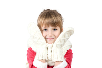 little girl in a scarf and mittens
