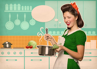 Young housewife cooking soup in her kitchen room with speech bub