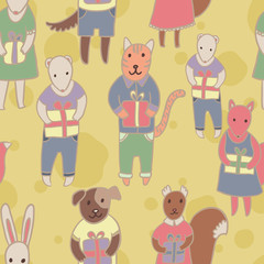 Adorable animals with presents. Birthday party seamless vector pattern.