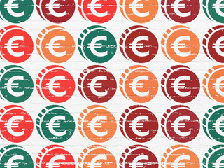 Currency concept: Euro Coin icons on wall background