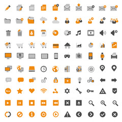 Set of 100 multimedia flat design icons