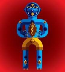 Bizarre creature vector illustration, cubism graphic modern pict