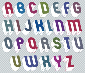 3d font with good style, simple shaped bold letters alphabet mad