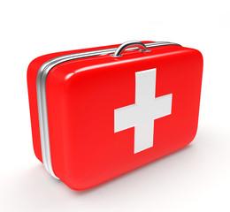 Medical suitcase isolated on white background