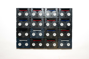 Many video cassettes are on over white