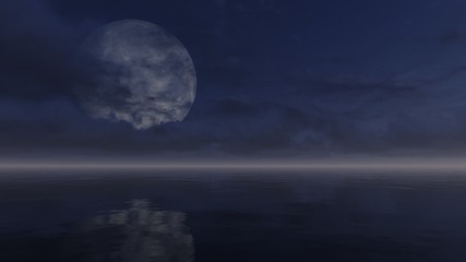 Full moon obscured by clouds above calm water surface