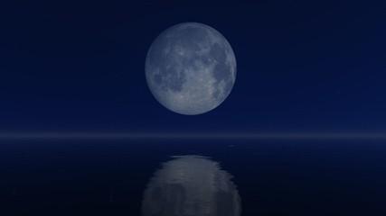 Fantastic big full moon above calm mirror water