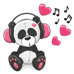 Panda with headphones