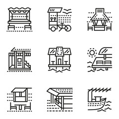 Cafe and bungalows simple line icons