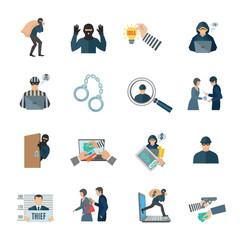 Theft Icons Set - fototapety na wymiar