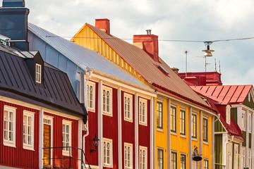 Ancient wooden houses in Karlskrona, Sweden