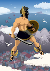 Perseus / Greek hero Perseus flying in his magic sandals. No transparency used. Basic (linear) gradients.