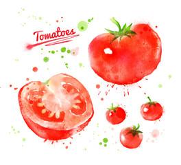 Watercolor tomatoes.