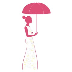 Beautiful woman with umbrella. Decorative silhouette of woman.