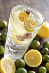 Cold Lemonade w Calamansi Limes, Lemon Slices and Sour Plums