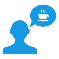 Icono usuario con comentario taza cafe azul