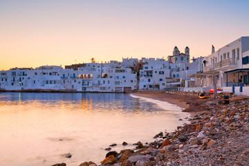 Beach in Naousa village on Paros island, Greece on September 04 2015.