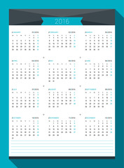 Calendar for 2016 Year. Vector Design Print Template. Week Starts Monday