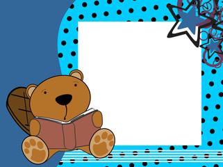 cute baby beaver reading cartoon in vector format