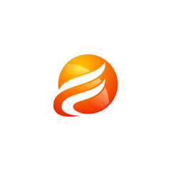 round abstract technology business logo