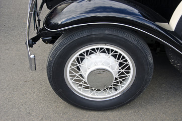 Wheel of black antique car