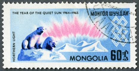 MONGOLIA - 1965: shows Northern lights and polar bears