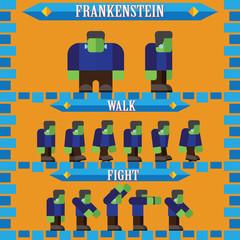 flat halloween game character for design frankenstein