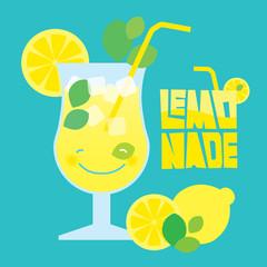 Glass of summer lemonade drink on blue background.
