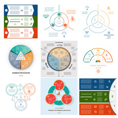 Set 9 templates Infographics cyclic processes on three positions