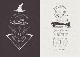 Vintage Hand Drawn Happy Halloween Party Invitations
