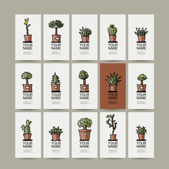 Business cards with cactus in pots, sketch for your design