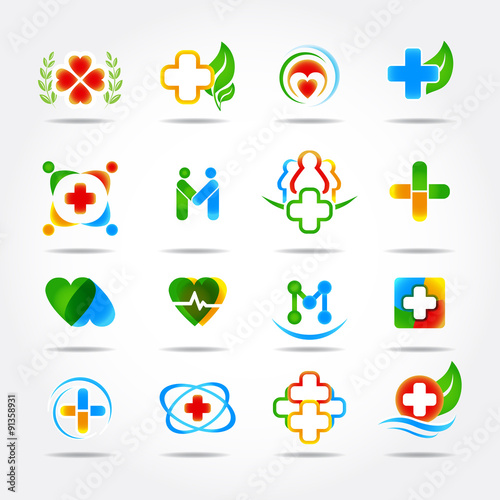 quotmedical pharmacy and health care logo design templates