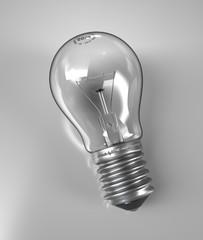 Inert lightbulb on reflective surface