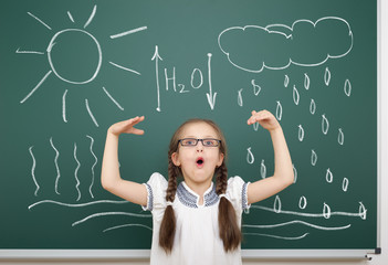girl drawing water circulation on school board