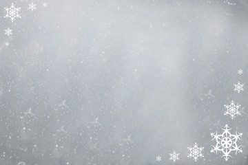 gray background with snowflakes frame