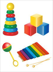 set of icons of children's toys