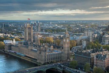 Ariel view of London across Westminster Bridge on a summer evening showing the Houses of Parliament,Westminster Abbey and Battersea Power Station