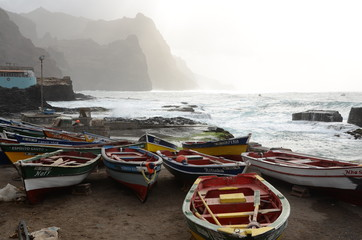 Boats ashore in Cabo Verde