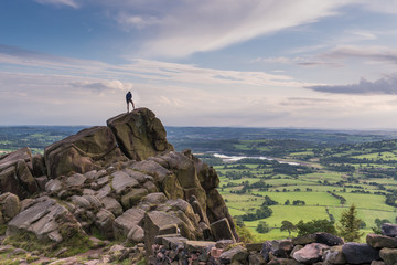 climbing at the Roaches, Peak District Wall mural