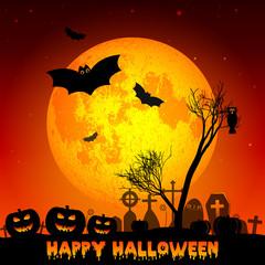 Festive illustration on theme of Halloween. Yellow moon in night