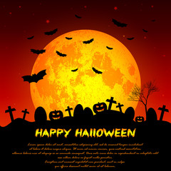 Festive illustration on theme of Halloween. Yellow moon in night