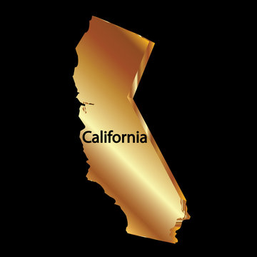 Map gold california state 3D vector