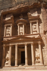 The Treasury carved into a sheer cliff.Petra, Jordan