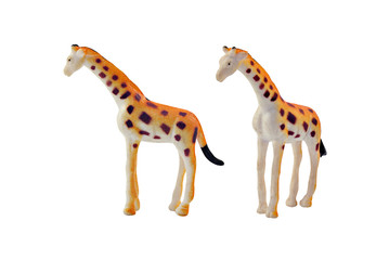 Isolated giraffe toy. Isolated giraffe toy side and angle view.