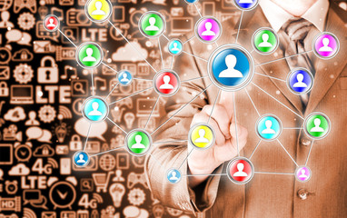 man hand pressing social media icon