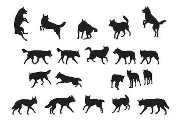 Australian Dingo Silhouettes Collection