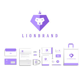 Vector artistic corporate identity template with lion logo and