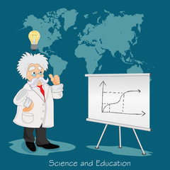 professor, graph, idea, science, technology, education, vector illustration in flat design for web sites, Infographic design