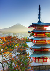 Wall Mural - Mt. Fuji with Chureito Pagoda, Fujiyoshida, Japan